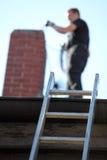 Barrido de chimenea en el trabajo Fotos de archivo libres de regalías