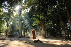 Barrido del monje la yarda del templo del bosque Fotografía de archivo