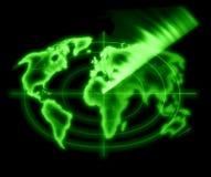Barrido verde del radar Fotos de archivo libres de regalías