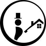 Barrido y casa de chimenea, barrido de chimenea y etiqueta de las profesiones libre illustration