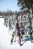 Barrie, Canada - 8 gennaio 2017: Uno scaffale imballato con gli sci e lo Sn fotografia stock