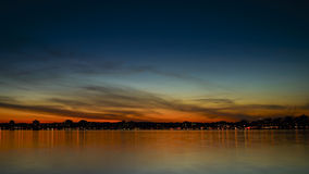 Barrie Sunset. Sunset over Kempenfelt Bay and the City of Barrie Ontario skyline stock photography
