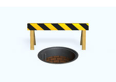 Barrier. 3d image with manhole and barrier Royalty Free Stock Images