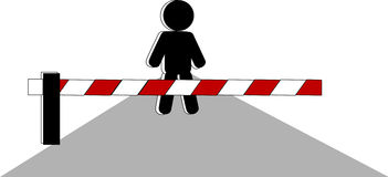 Barrier. Symbolic person beside barrier on road Stock Photo