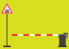Barrier. The barrier and the road sign Royalty Free Stock Photography