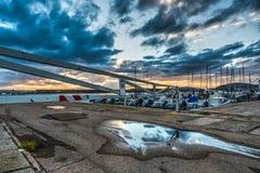 Barrier in Alghero harbor Stock Photos