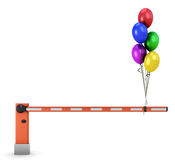 Barrier with balloons. On white background. 3d illustration Stock Image