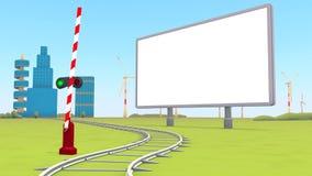 Barrier, blank billboard Stock Photo