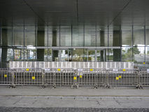 Barrier in front of Legislative Council - Umbrella Revolution, Admiralty, Hong Kong Royalty Free Stock Images