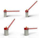 Barrier gate. 3d rendering on white background Royalty Free Stock Images