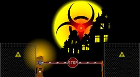 Barrier Gate And Biohazard Sign Royalty Free Stock Images