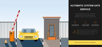 Barrier Gate Automatic system. Automatic Rising Up Barrier, automatic system gate for security. Flat and Colorfull illustration. Vector graphic royalty free illustration
