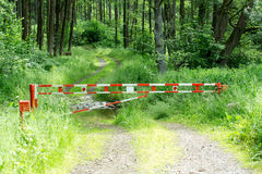 Barrier gate with forest background usage Royalty Free Stock Photo