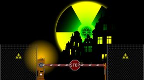 Barrier gate and radiation sign Stock Image