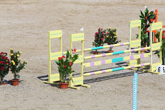 Barrier for horses and flower pots buried in sand. Royalty Free Stock Photo