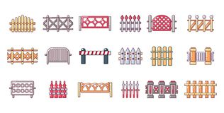 Barrier icon set, cartoon style. Barrier icon set. Cartoon set of barrier vector icons for web design isolated on white background Stock Image