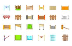 Barrier icon set, cartoon style Royalty Free Stock Image