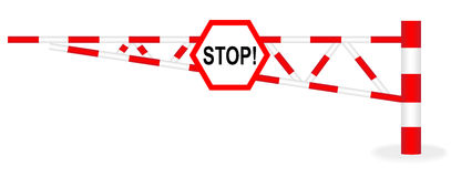 Barrier. Illustration barrier with a stop sign on a white background Stock Photo