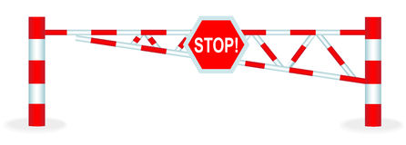 Barrier. Illustration barrier with a stop sign on a white background Royalty Free Stock Images