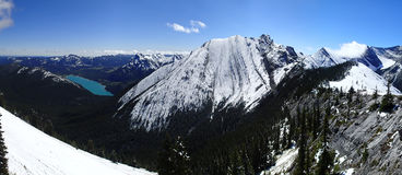Barrier Lake Fresh Snow Mountain Scene Royalty Free Stock Images