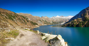 Barrier lake. Koelnbreinspeicher in the Malta-Valley in Carinthia in Austria. The lake is used for a storage power plant Royalty Free Stock Photography