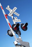 Barrier level crossing. Railroad crossing dangerous Royalty Free Stock Photography