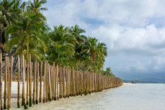 Barrier made of bamboo poles in a tropical island Stock Photo