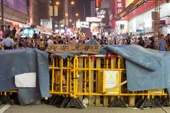 Barrier and poster on Nathan road, a street blocking demonstration in 2014 Stock Photos