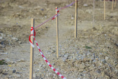 Barrier red and white tape to mark construction site 2 Royalty Free Stock Photography