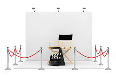 Barrier Rope Around Trade Show Booth with Director Chair, Movie Royalty Free Stock Photo