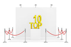 Barrier Rope Around Trade Show Booth with Golden Top 10 Sign ove Stock Photos