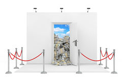 Barrier Rope Around Trade Show Booth with White Opened Door with Royalty Free Stock Image