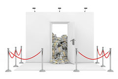 Barrier Rope Around Trade Show Booth with White Opened Door with Stock Photo