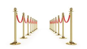 Barrier rope isolated on white. Gold fence. Luxury, VIP concept. Equipment for events. 3d illustration Stock Image