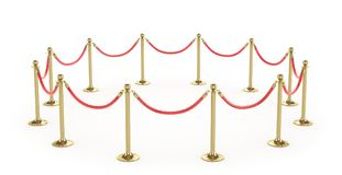 Barrier rope isolated on white. Gold fence. Luxury, VIP concept. Equipment for events. 3d illustration Royalty Free Stock Image