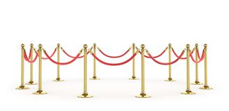 Barrier rope isolated on white. Gold fence. Luxury, VIP concept. Equipment for events. 3d illustration Stock Photo