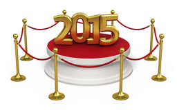 Barrier rope new year 2015. Barrier rope and white base gold 2015 ( on white and clipping path Stock Photography