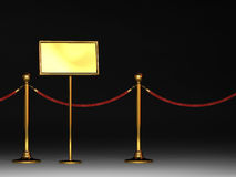 Barrier rope and notice board. 3d rendered,golden color barrier rope and notice board Stock Photos