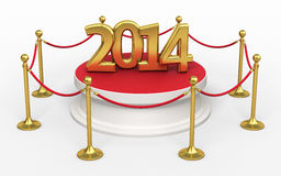 Barrier rope. Red carpet and new year 2014 render (isolated on white and clipping path Stock Photography