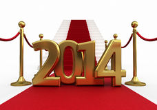 Barrier rope. Red carpet and new year 2014 render (isolated on white and clipping path royalty free illustration