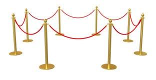 Barrier rope on white background. 3D illustration stock illustration
