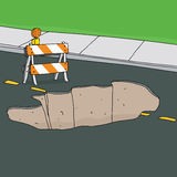Barrier at Sinkhole in Street Stock Image