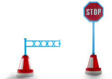 Barrier with stop road sign. Isolated on a white Stock Photo