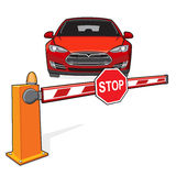 Barrier, stop sign. Closed barrier and a red car. Stop sign Stock Photography