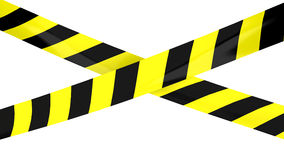 Barrier tape. 3D render of Barrier tape. Yellow and black colors Royalty Free Stock Images