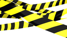 Barrier tape. 3D render of Barrier tape. Yellow and black colors Stock Image
