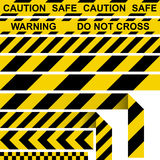 Barrier tape. Yellow and black restrictive tape Stock Photos