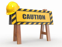 Barrier with text caution and hardhat Royalty Free Stock Photography