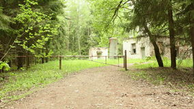 Barrier to the kids camp in the forest. Smooth and slow steady cam shot stock footage