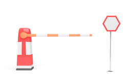 Barrier and traffic sign Stock Photo